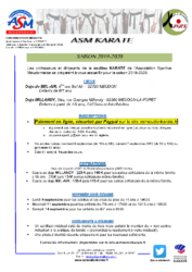 Courrier mailing adhesion saison 2019-2020