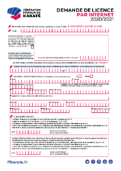 Formulaire Demande de licence 2020-2021